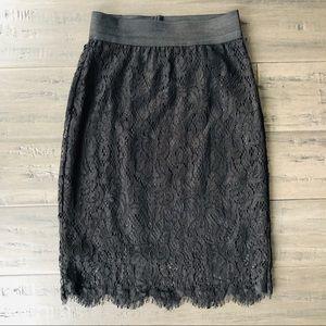 H&M black lace pencil skirt size 2